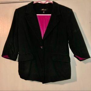 Soft comfortable cotton like black + pink blazer